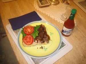 Homemade roast beef po'boy.