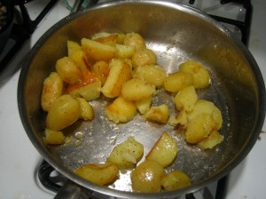 Not totally browned potatoes.