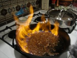 Brandy on fire.